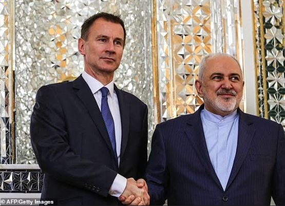 ظريف مستقبلا هنت في طهران في ديسمبر 2018