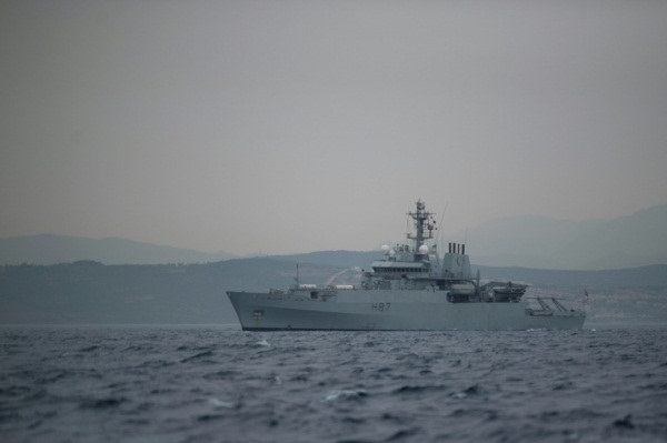 سفينة تابعة لسلاح البحرية البريطانية قبالة سواحل جبل طارق في 6 يوليو 2019