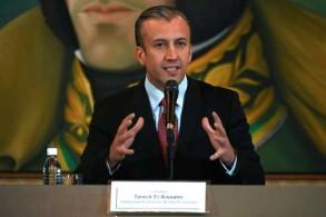 نائب الرئيس الفنزويلي وزير الصناعة طارق العيسمي في مؤتمر صحافي في كراكاس بتاريخ 10 مايو 2019