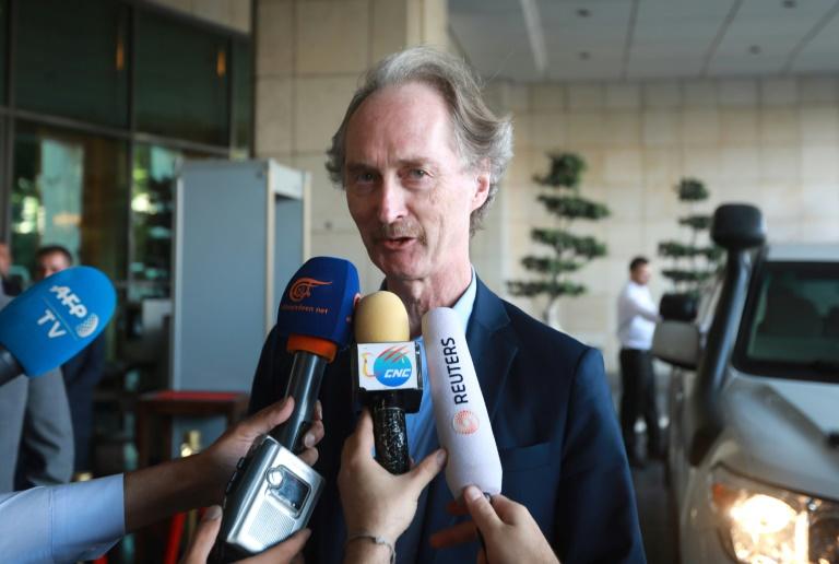 مبعوث الامم المتحدة الى سوريا غير بيدرسون يدلي بتصريح صحافي في دمشق في التاسع من تموز/يوليو 2019