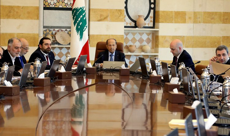 اجتماع سابق للحكومة اللبنانية بحضور الرئيس ميشال عون ورئيس الحكومة سعد الحريري