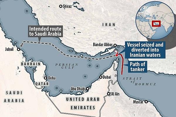 خط سير ناقلة النفط البريطانية لحظة احتجازها