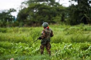 جندي بورمي يقوم بحراسة منطقة محيطة بمطار سيتوي في مونغداو في ولاية راخين بتاريخ 20 سبتمبر 2018