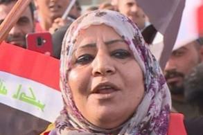 رنا حميد تهتف لصدام خلال تظاهرة في كركوك