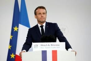 الرئيس الفرنسي إيمانويل ماكرون يلقي خطاباً في مقر وزارة الدفاع الفرنسية في 13 يوليو 2019 في باريس