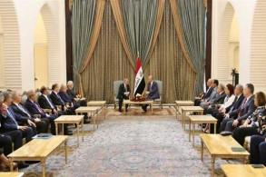 الرئيس صالح مجتمعا مع رئيس الوزراء الفلسطيني والوفد المرافق له