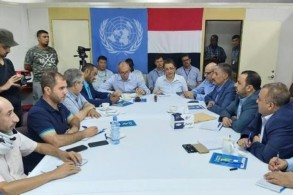 لجنة تنسيق اعادة الانتشار في الحديدة اليمنية مجتمعة على سفينة في ميناء المدينة اليمنية في 14 يوليو