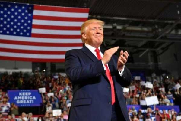 دونالد ترمب خلال تجمع انتخابي في كارولاينا الشمالية في 17يوليو 2019