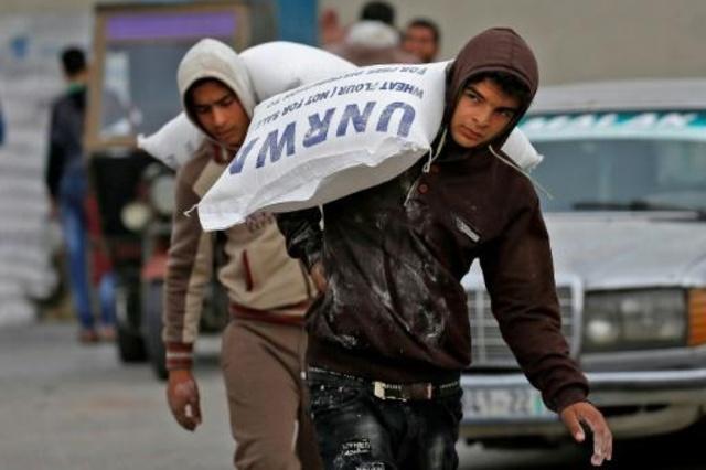 شاب فلسطيني يحمل أكياسا من الطحين أمام مركز توزيع تديره وكالة غوث وتشغيل اللاجئين الفلسطينيين (اونروا) في رفح جنوب قطاع غزة