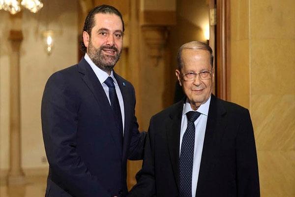 رئيس الجمهورية اللبناني ميشال عون ورئيس الحكومة سعد الحريري