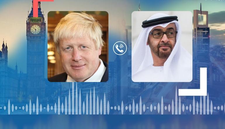 مباحثات هاتفية بين الشيخ محمد بن زايد ورئيس وزراء بريطانيا (وام)