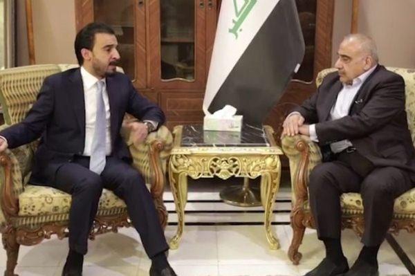 عبد المهدي والحلبوسي خلال اجتماع سابق
