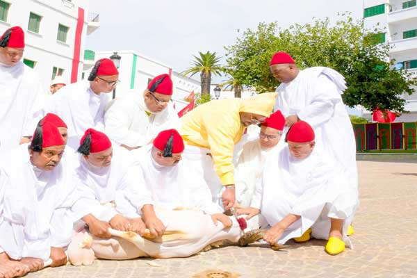 العاهل المغربي يذبح أضحية العيد