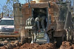 جنود أتراك خلال العملية العسكرية التركية ضد الأكراد في جبل برصايا شمال عفرين