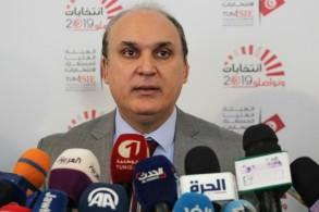 صورة وزّعتها الهيئة العليا المستقلة للانتخابات في تونس لرئيسها نبيل بفون خلال مؤتمر صحافي في 14 آب/اغسطس 2019