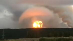 صورة من مقطع فيديو تظهر الانفجار النووي في قاعدة عسكرية في مدينة سفرودفنسك شمالي روسيا