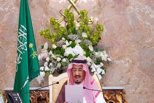 الملك سلمان خلال إلقاء كلمته في الحفل السنوي لكبار ضيوف الحج