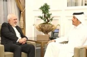 جانب من لقاء وزيري خارجيتي قطر وإيران