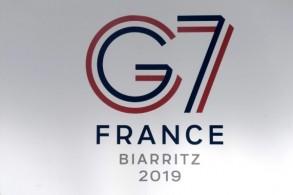 شعار قمة مجموعة السبع في 20 أغسطس 2019 في بياريتس جنوب غرب فرنسا