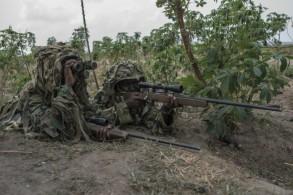 عناصر من وحدة القنص التابعة للجيش النيجيري خلال تدريبات في غواغوالادا بتاريخ 17 نيسان/ابريل 2018