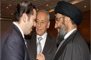 نصرالله (يمين) وبري والحريري