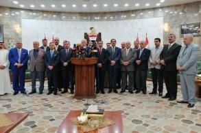 نواب المحافظات العراقية المحررة من داعش خلال مؤتمر صحافي عن قضايا المغيبين والمختطفين والجثث المجهولة