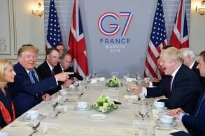 الرئيس الأميركي دونالد ترمب ورئيس الوزراء البريطاني بوريس جونسون في لقائهما الأول في بياريتس