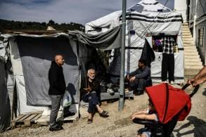 جانب من مخيم موريا للمهاجرين في جزيرة ليسبوس اليونانية في 20 مارس 2019
