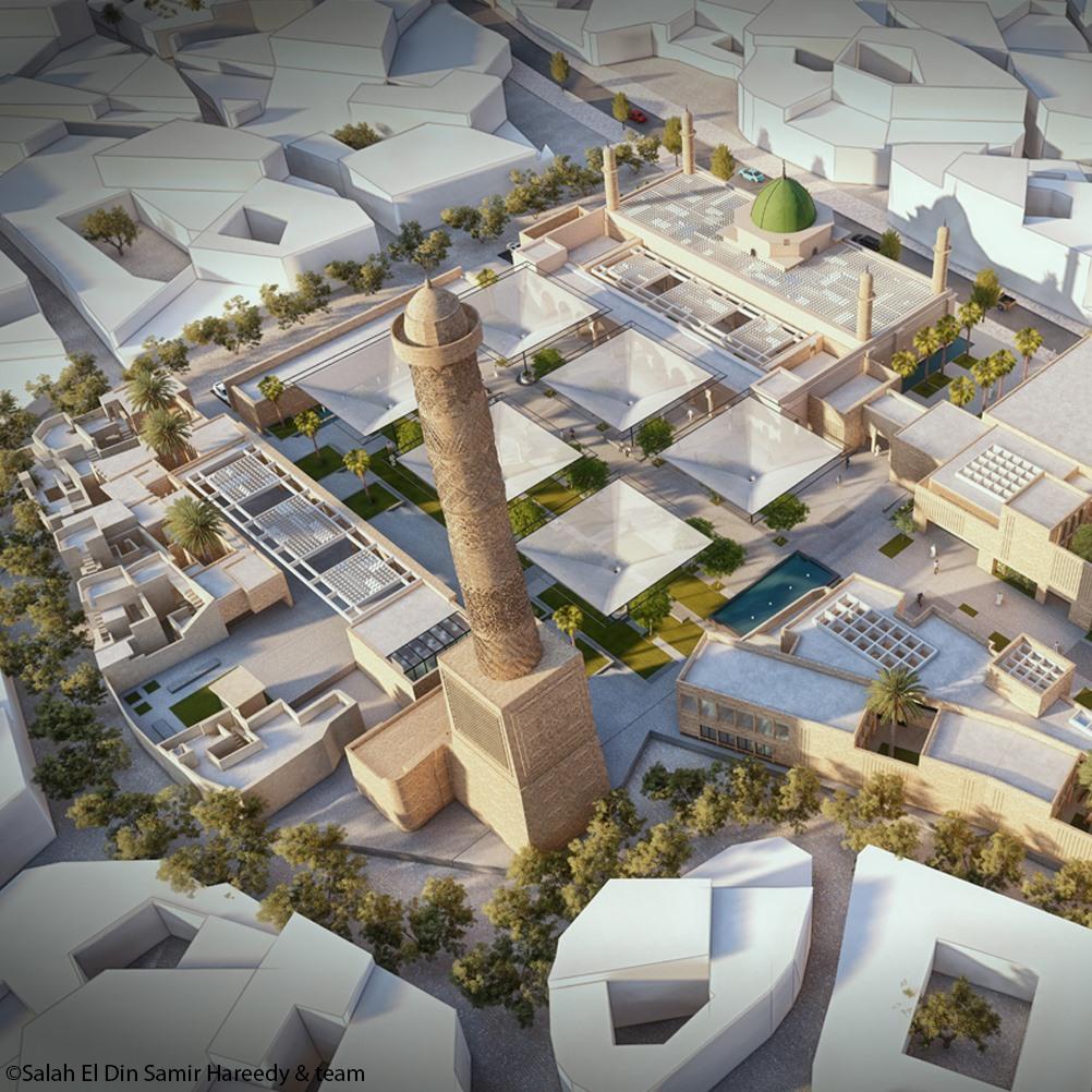 التصميم الفائز الذي اعلنته اليونسكو لاعادة بناء جامع النوري الكبير في الموصل