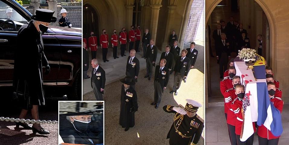 ملكة بريطانيا خلال تشييع جنازة دوق إدنبره السبت