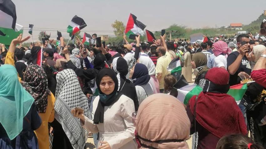 جانب من التظاهرات الأردنية في المنطقة الحدودية