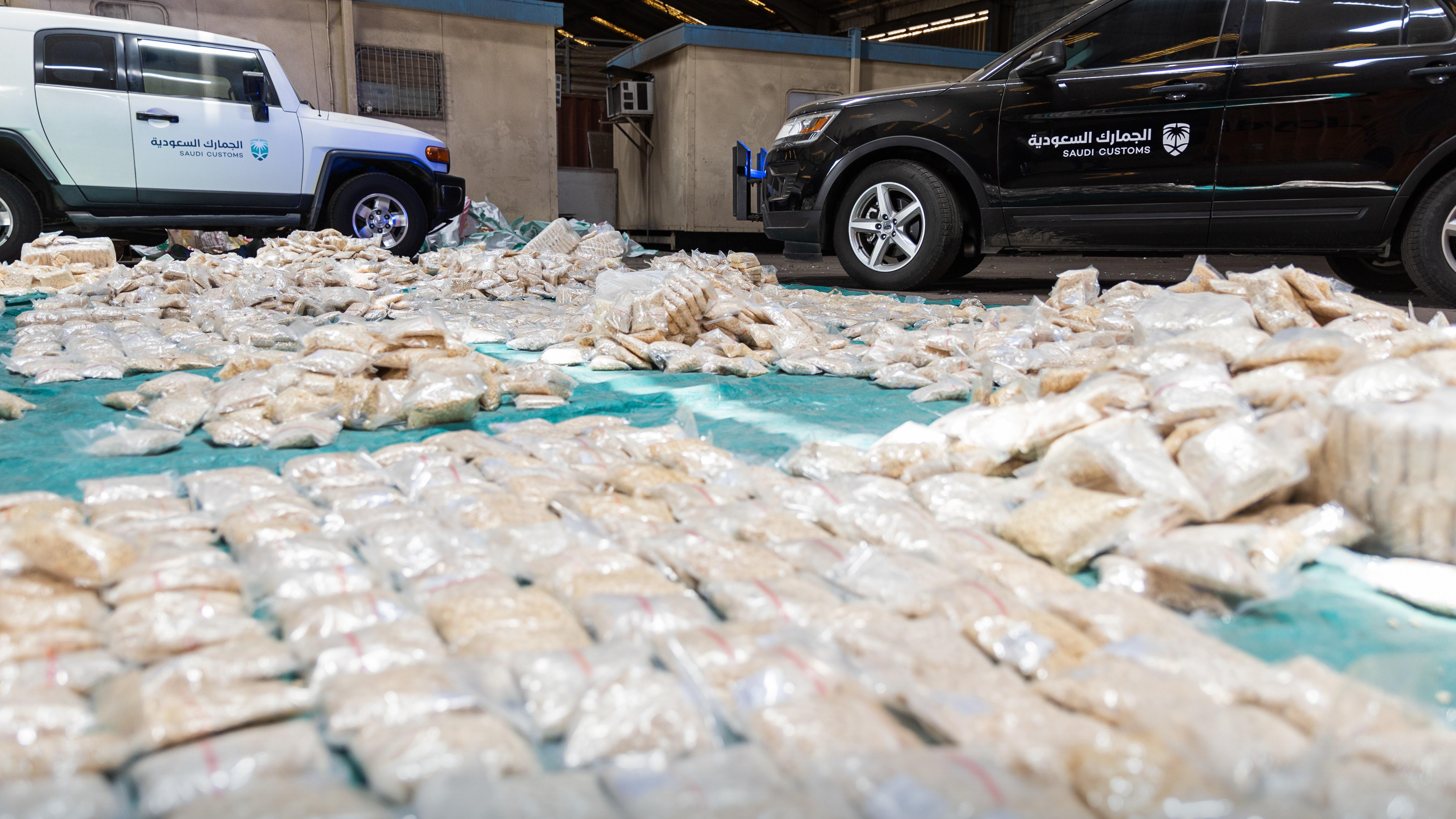 حبوب الكبتاغون التي صادرتها هيئة الزكاة والضريبة والجمارك في ميناء جدة الإسلامي