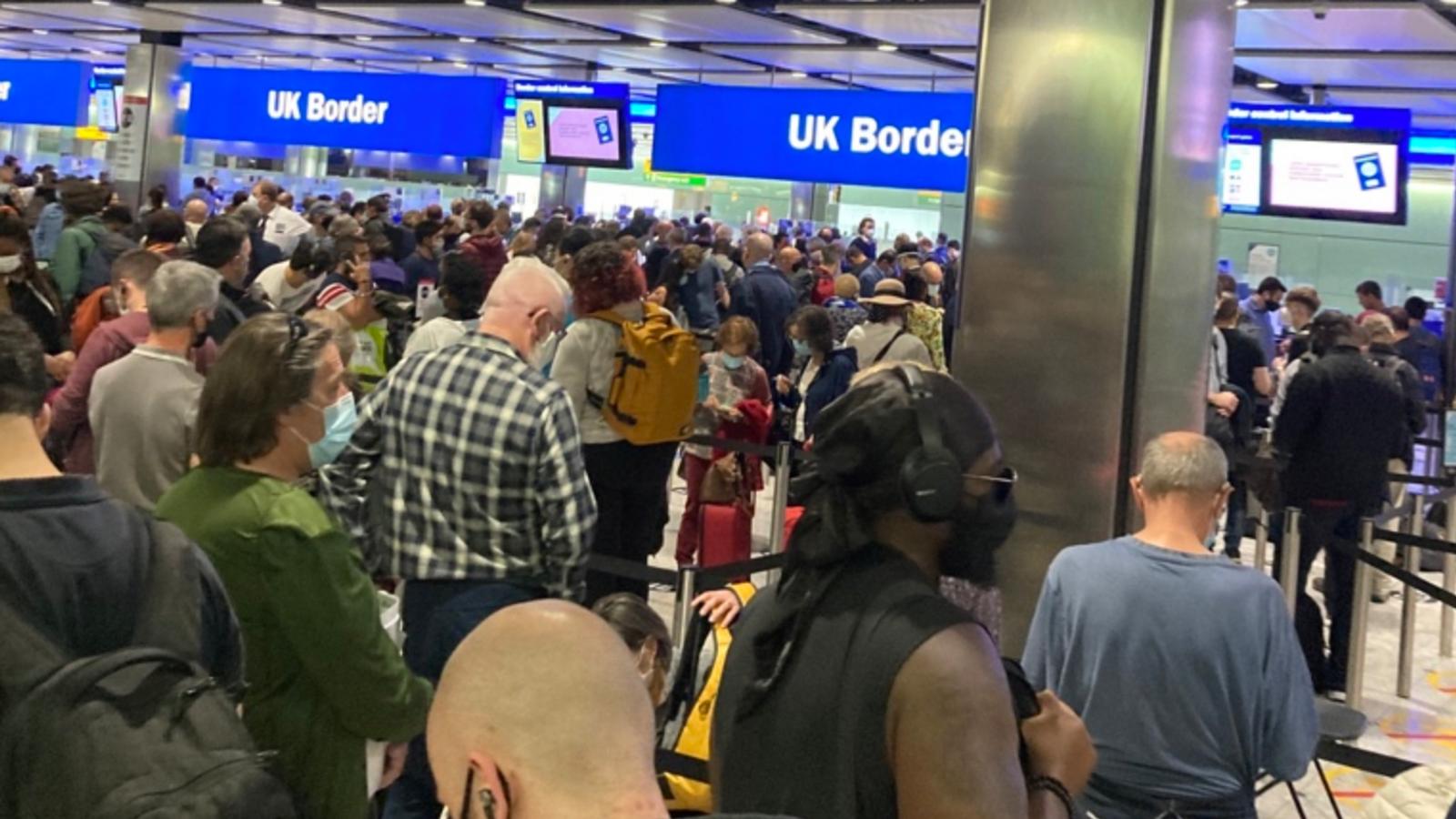 صورة للفوضى في مطار هيثرو البريطاني - صورة من شاشة شكاي نيوز