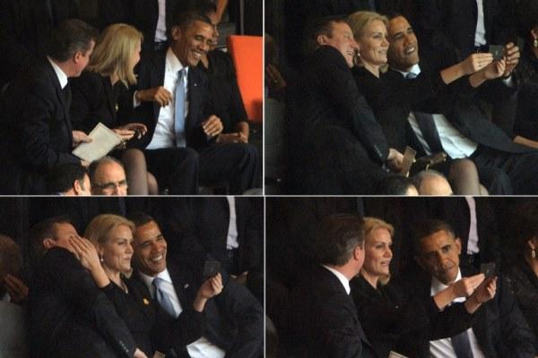 صورة مركبة تظهر اندماج أوباما بالمزاح مع رئيسة وزراء الدنمارك