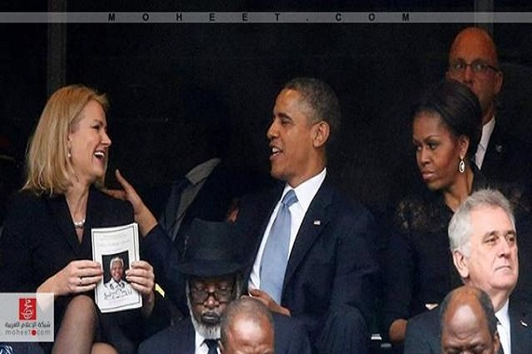 أوباما مندمجًا مع رئيسة وزراء الدنمارك