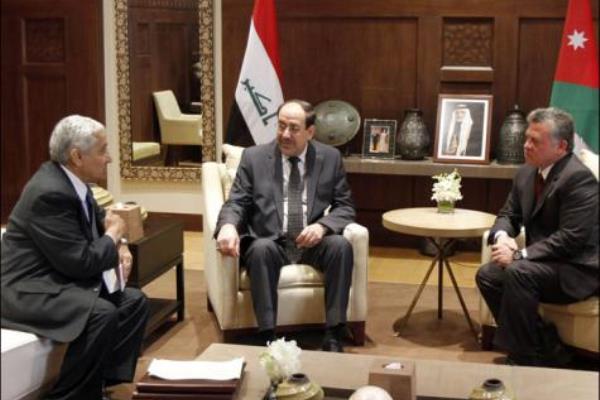 المالكي ملتقيًا الملك عبدالله الثاني والنسور خلال زيارة سابقة الى الأردن