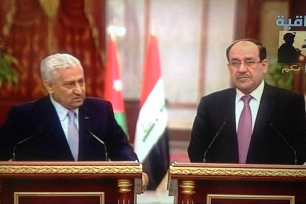 المالكي والنسور خلال مؤتمرها الصحافي في بغداد