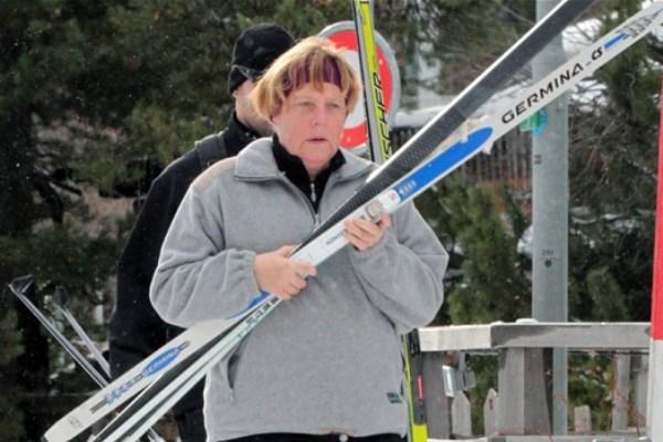 ميركل تكسر حوضها أثناء ممارستها رياضة التزلج