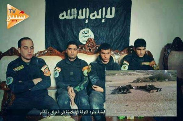 أربعة جنود أسرهم تنظيم داعش في الأنبار وفي الإطار صورة جثثهم بعد إعدامهم