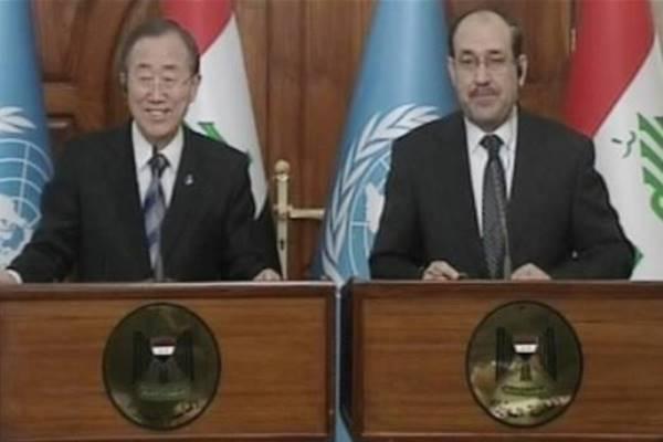 المالكي وبان كي مون خلال مؤتمرهما الصحافي في بغداد