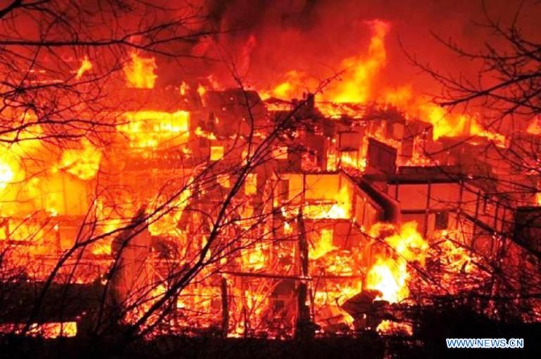 دوكتزونغ التيبيتية تحترق