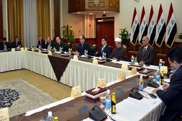 المالكي خلال ترؤسه اجتماع رؤساء الكتل السياسية النيابية