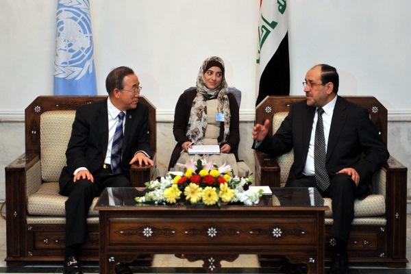 المالكي مجتمعًا مع بان كي مون في بغداد