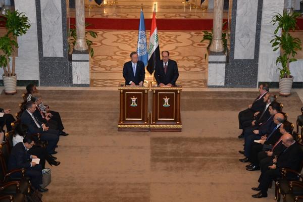 المالكي وكي مون خلال مؤتمرهما الصحافي في بغداد