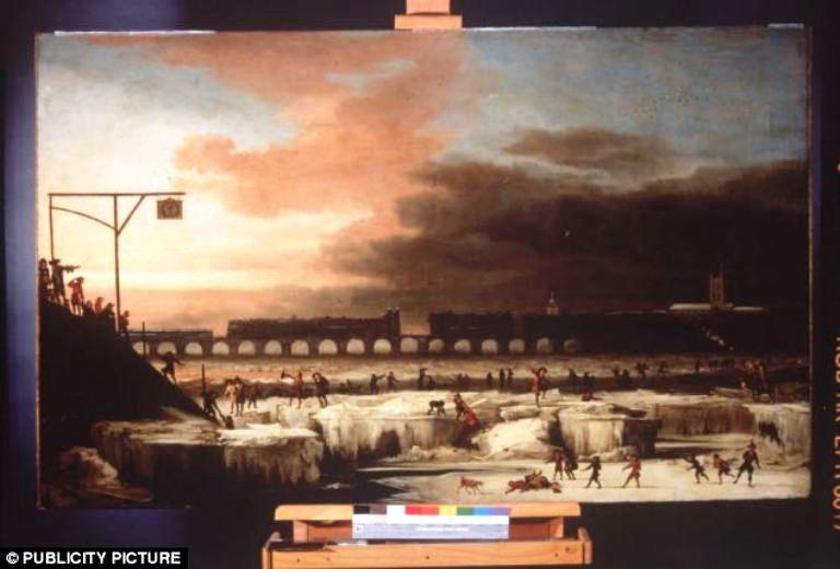 لوحة زيتية تبين تجمد نهر التايمز عام 1677