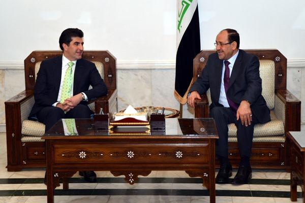 نجيرفان بارزاني مجتمعًا مع نوري المالكي في بغداد