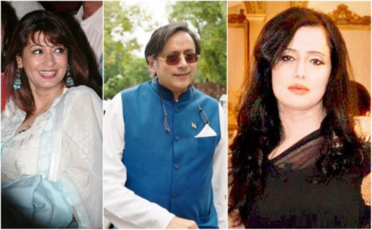 صورة مركبة للوزير الهندي في الوسط وزوجته التي انتحرت على يمينه والصحفية الباكستانية يساراً
