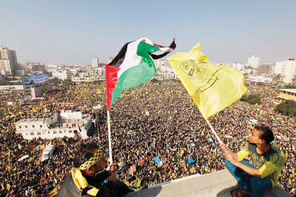 أحد مهرجانات فتح التي نظمتها في غزة بعد المصالحة احتفالًا بانطلاقتها