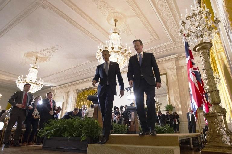كاميرون وأوباما خلال لقائهما في البيت الأبيض