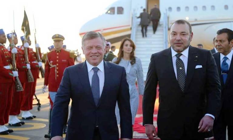 العاهل المغربي في استقبال عاهل الأردن والملكة رانيا